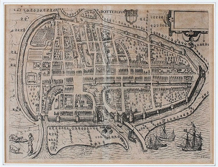 Lodovico Guicciardini (1521-1589) Framed plan of Rotterdam publis