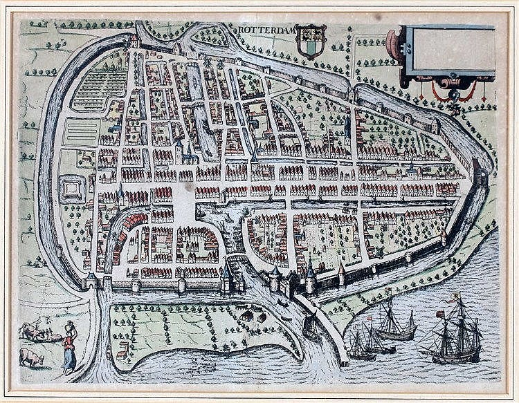 Framed and handcolored plan of Rotterdam published around 1620 b