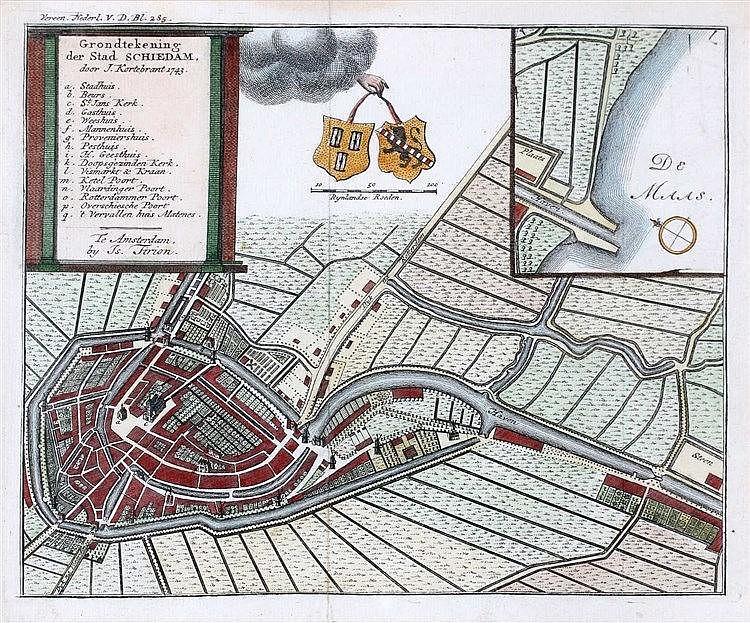 Isaak Tirion (1705-1765) Grondtekening der Stad Schiedam door J.