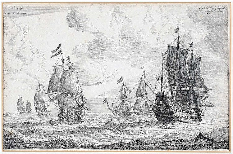 Reinier Zeeman (1624-1664) A naval battle. Numbered 1 and signed