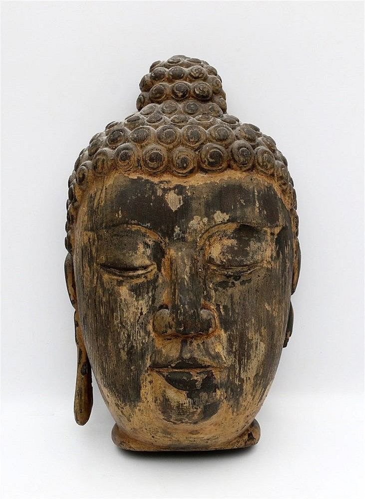 A Chinese Ming-style wood head of Buddha. Remains of gilding. H