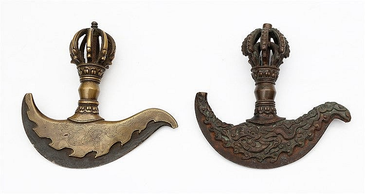 Two Tibetan bronze ritual knives, kartika . 19th century. Hoog