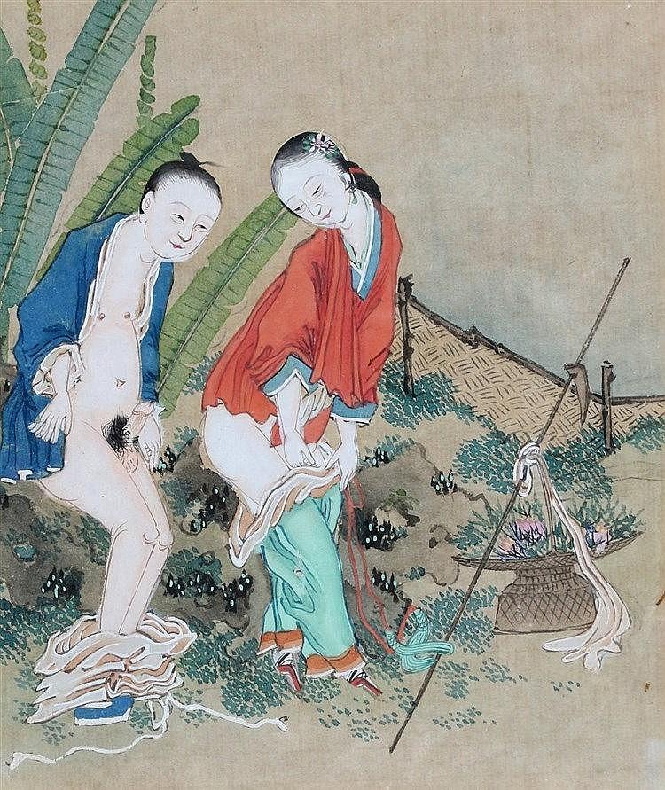 A Chinese erotic gouache. 20th century. 12,5 x 11 cm.