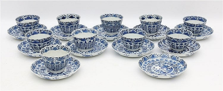 A set of ten Chinese blue and white cups and eleven saucers, all