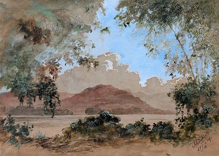 Surjosoebroto Abdullah (1878-1941) An Indonesian landscape. Signe