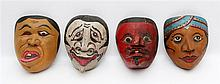 Four Topeng dance masks, 1st half 20th century.