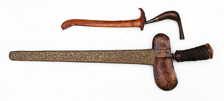 Two Indonesian pointed weapons. One with pamor blade in a sheath