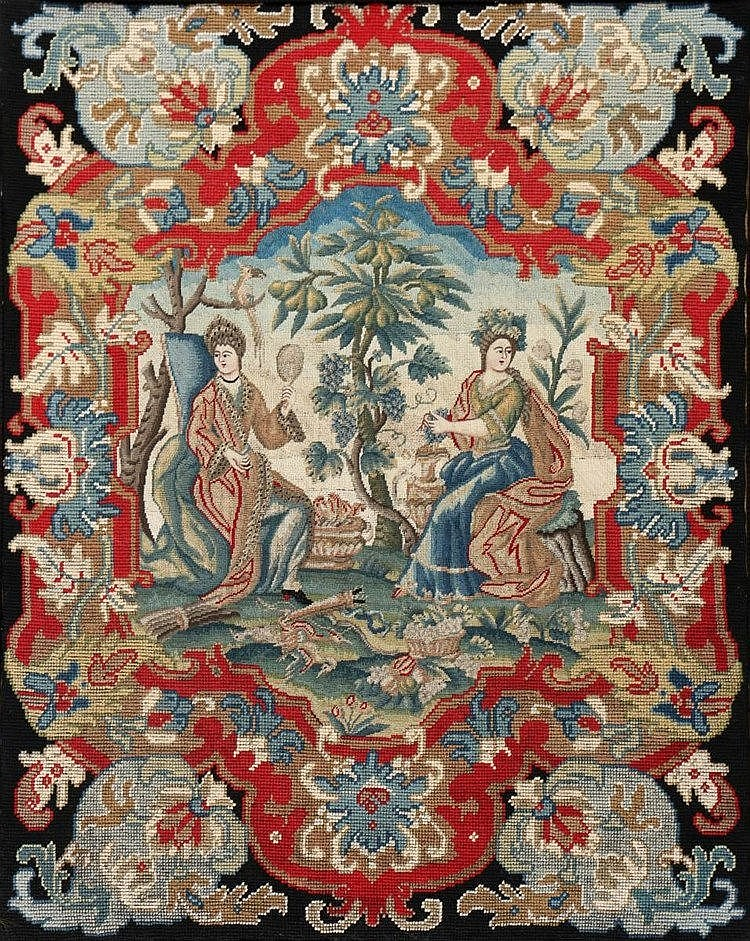 A tapestry panel, embroidered in gros point with figures by a fr