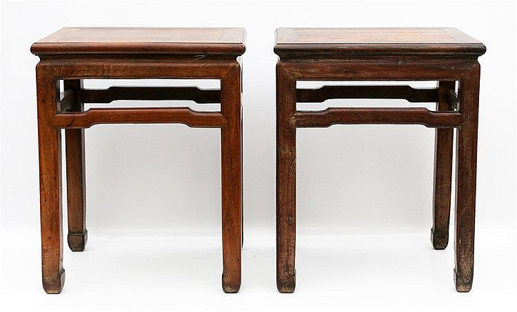 Two Chinese hardwood side-tables. 19th-20th century. 52 x 41 x