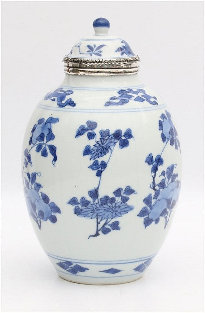 A Chinese blue and white oviform jar and cover, the rims later m