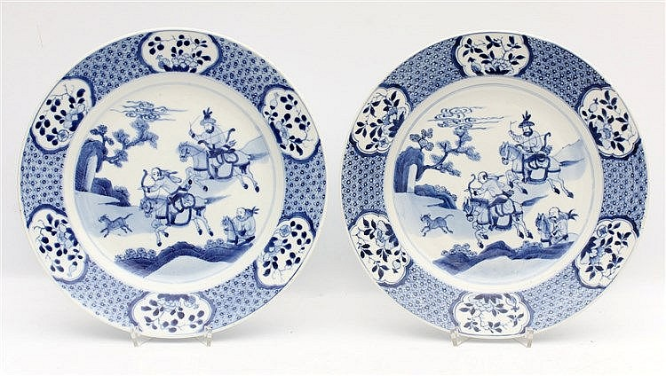 A pair of Chinese blue and white plates decorated with the 'Joos
