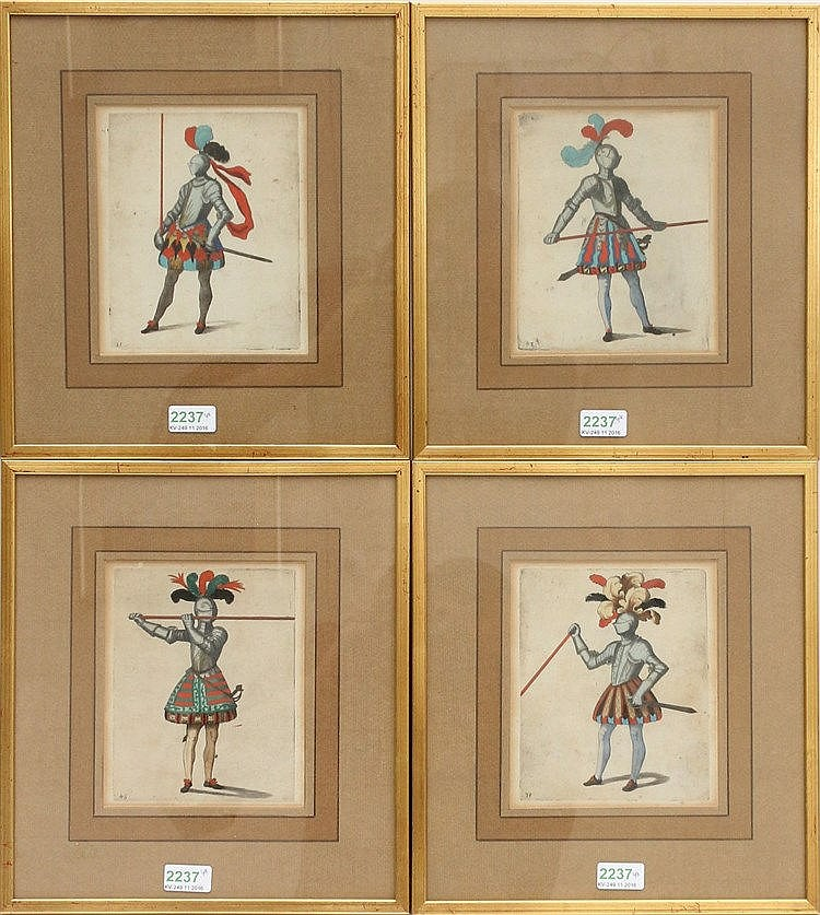 Four handcoloured 17th-century engravings of knights. Size of th