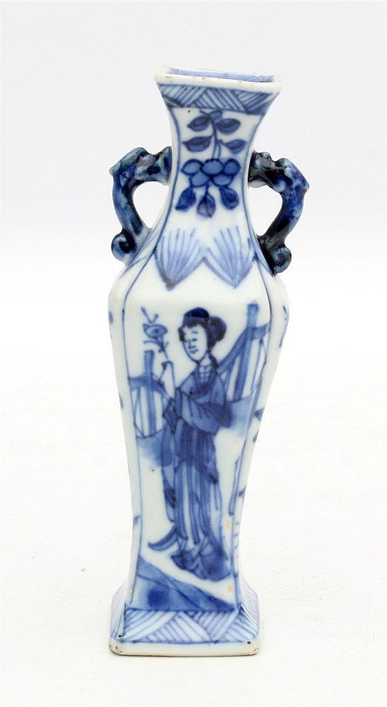 A Chinese blue and white miniature square baluster vase decorate