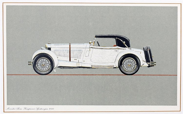 [Cars] Portfolio with 5 (of 6) coloured woodcuts of Mercedes Ben