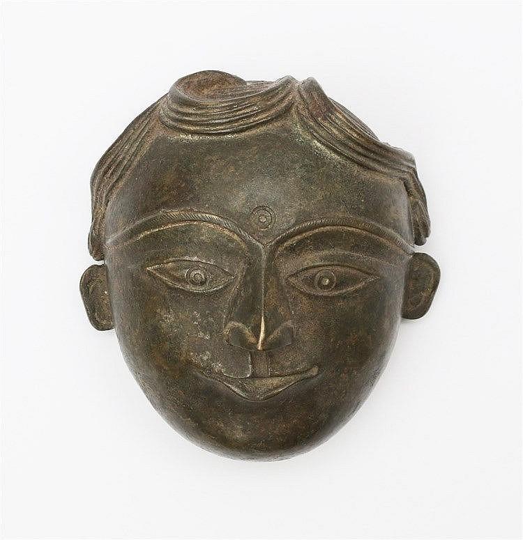 A Thai bronze model of a head. 19th century. Hoogte 9,7 cm.