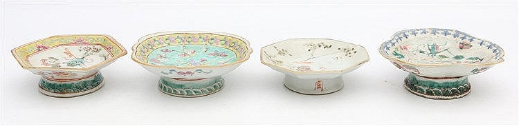 Four various Chinese famille rose tazza's. Circa 1900 and 20th c