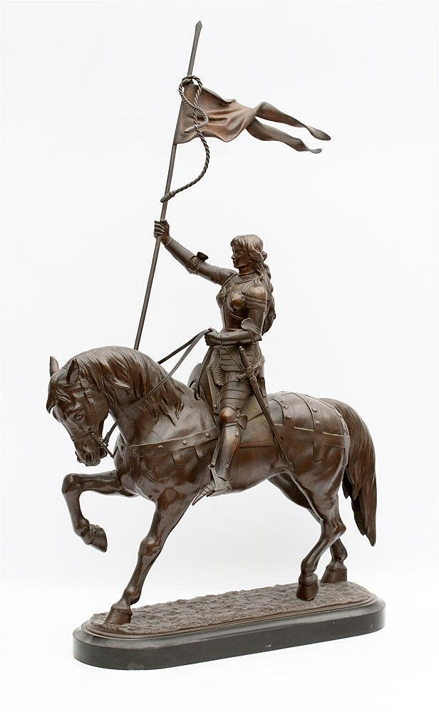 Franse School 19e eeuw A bronze sculpture. Jeanne d'Arc on horseb