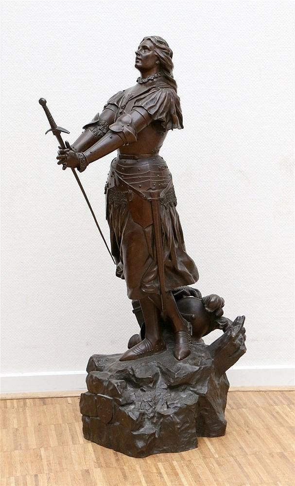 Henri Emile Allouard (1844-1929) A bronze sculpture. 'Jeanne d'Ar