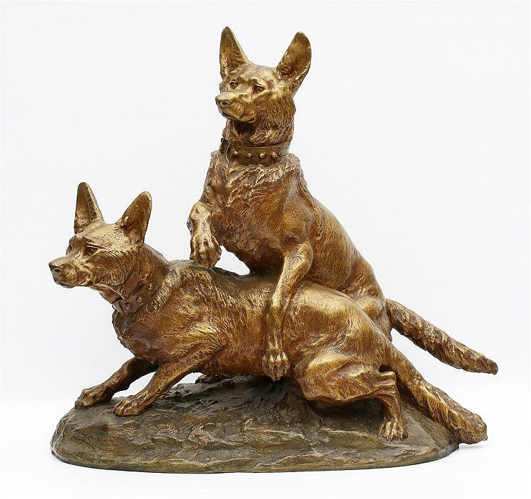 Thomas François Cartier (1879-1943) A bronze sculpture. Two playi