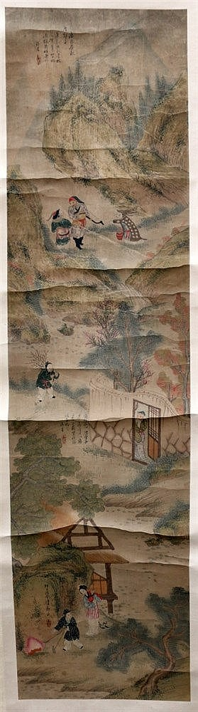 A Chinese hanging scroll, ink on paper, depicting a hunter with
