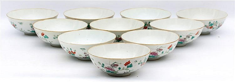 A set of ten Chinese famille rose bowls decorated with grasshopp