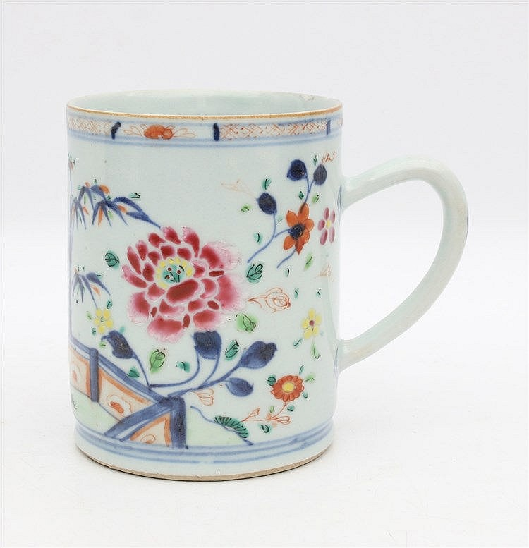 A Chinese rose-Imari beerjug decorated with peony and bamboo in