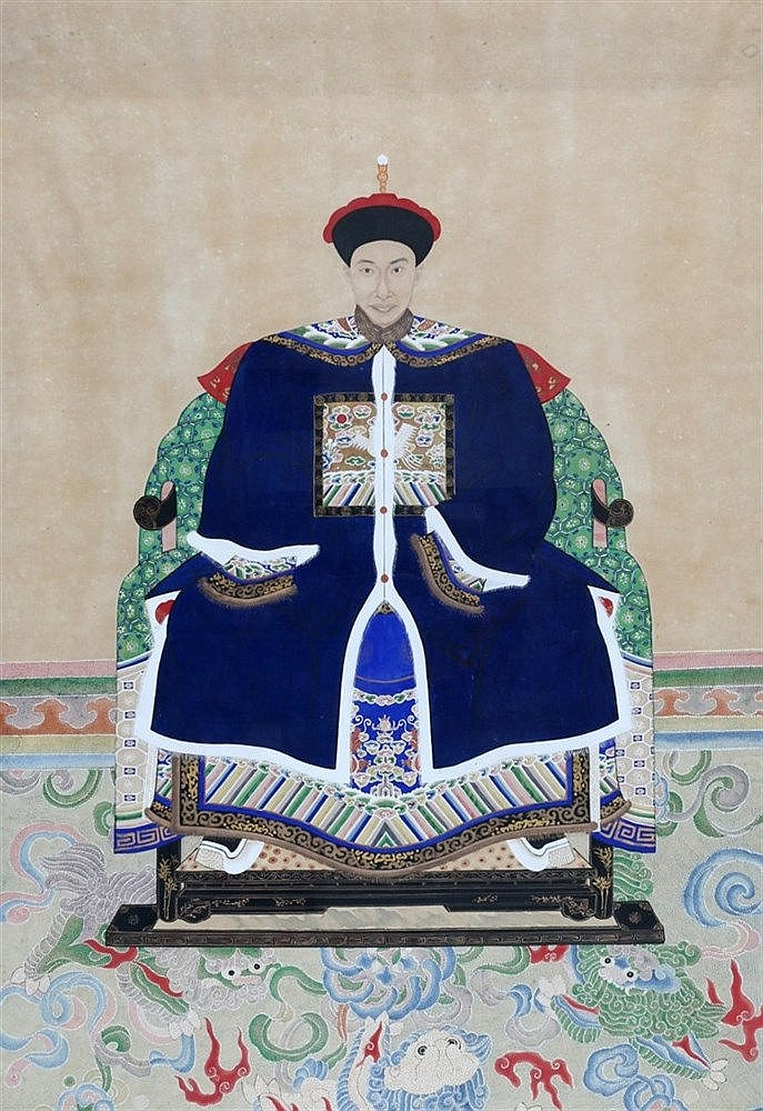 A Chinese ancestor portrait of a figure in offical robe. 19th ce