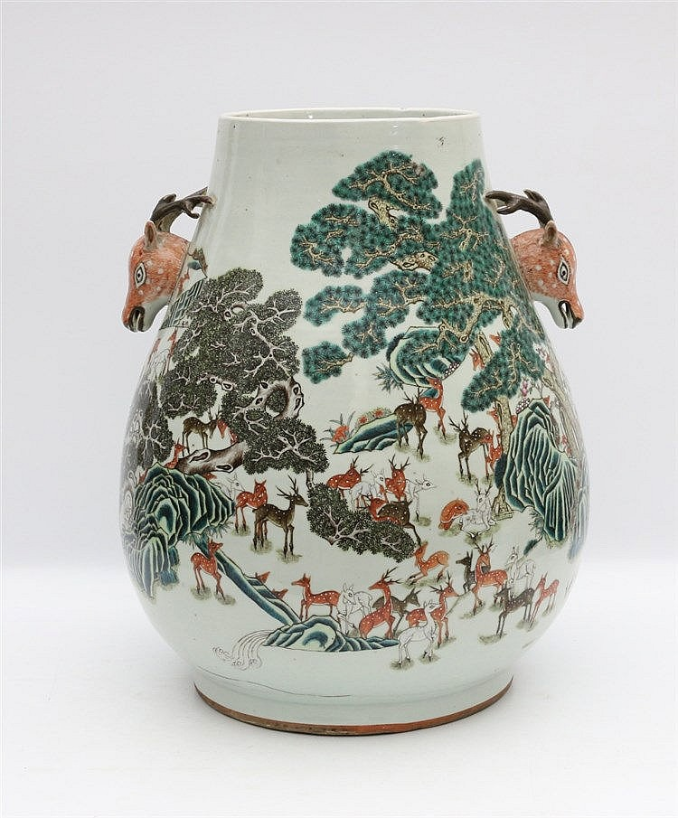 A Chinese famille rose 'one hundred' deer vase, hu , painted wi