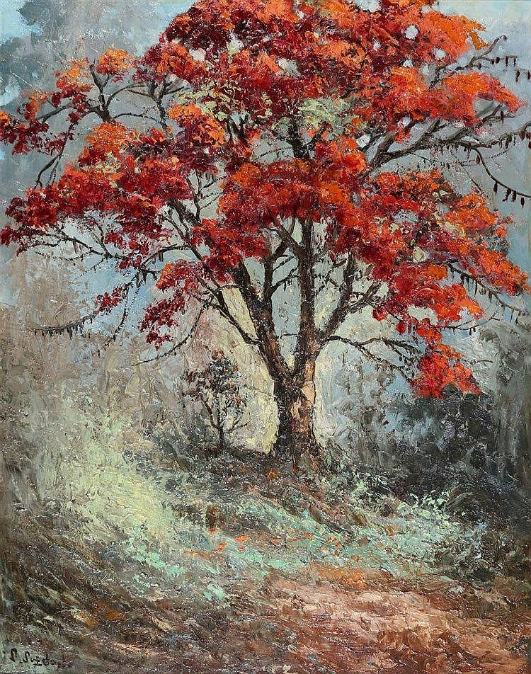 S. Soejono Fireblossom. Signed lower left. Paneel 76 x 59 cm.