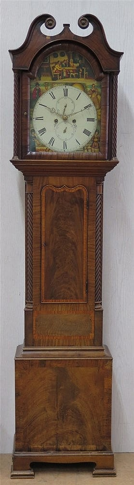An inlaid mahogany grandfather clock, with chime, second-hand an