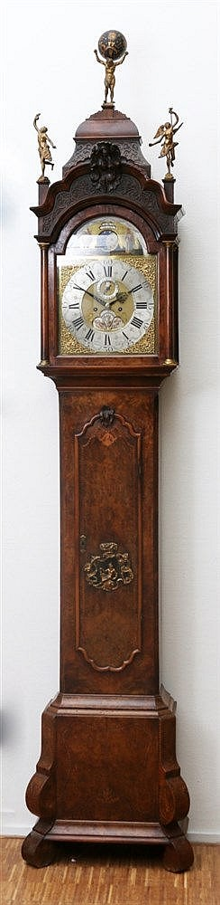 A Dutch burr-walnut longcase clock with moonphase and alarm. Ott