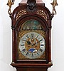 A Dutch burr-walnut longcase clock. With 'scheepjesmechaniek' (a