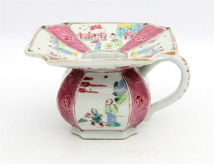 A Chinese square lobed spittoon, decorated with figural panels a