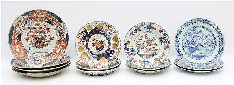 A set of four Japanese Imari plates, a set of three lobed Japan
