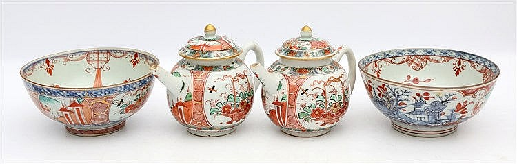 Two Chinese 'Amsterdams Bont' overdecorated teapots and covers a