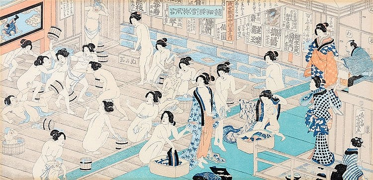 Yoshiiku Utagawa (1833-1904) Beauty contest in the bathhouse, lat