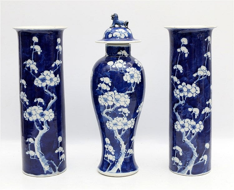 A Chinese three part blue and white garniture, comprising of a b