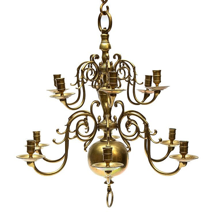 A copper chandelier. Two layers with a total of twelve arms. 19t
