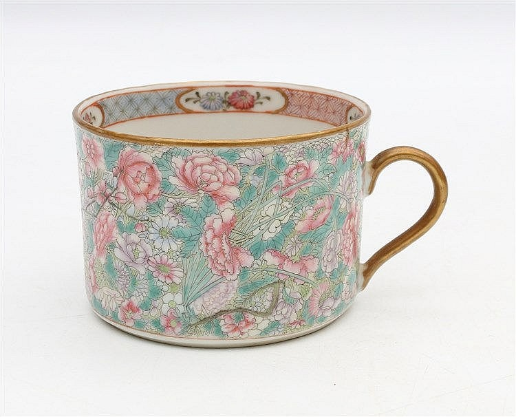 A Chinese famille rrose millefleurs coffee-cup, the interior dec