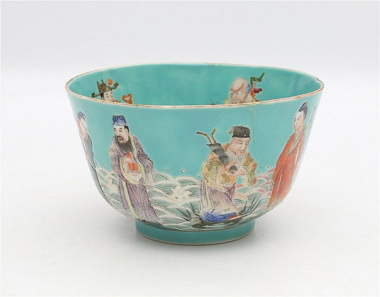 A Chinese turquoise-ground bowl decorated to the exterior with t