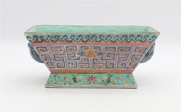 A Chinese turquoise-ground jardinière, decorated around the side