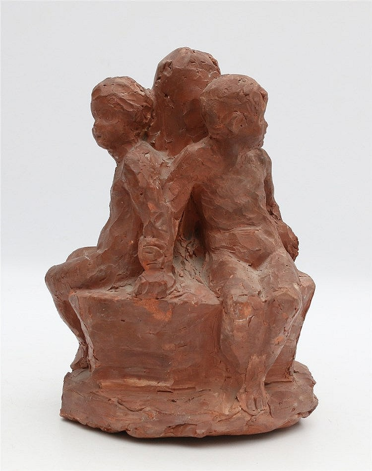 Johan Keller (1863-1944) A terracotta sculpture. Three young boys