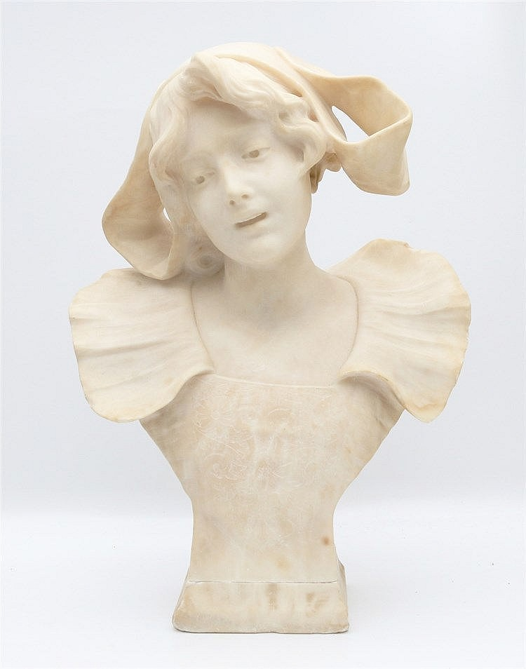 Suzanne Bizard (1873-1963) An alabaster sculpture. Young woman. S