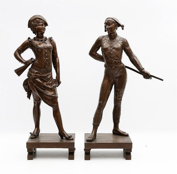 Alfred Pierre Richard (1844-1884) Two bronze statues, a pair. 'Ar