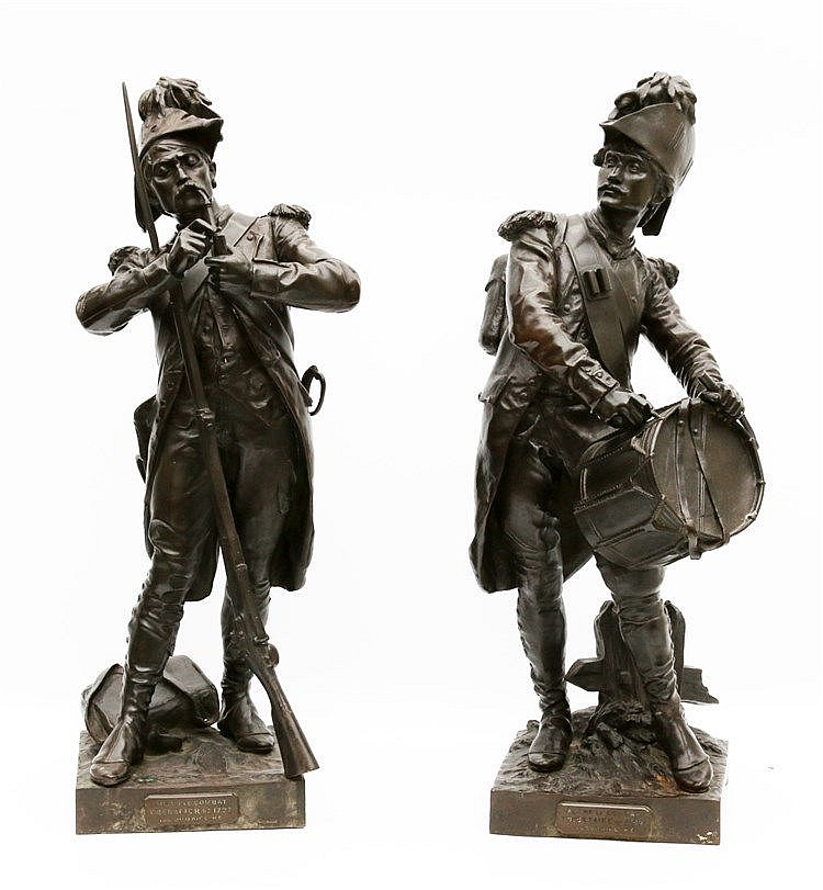 Henry Étienne Dumaige (1830-1888) A pair of bronze sculptures. 'A