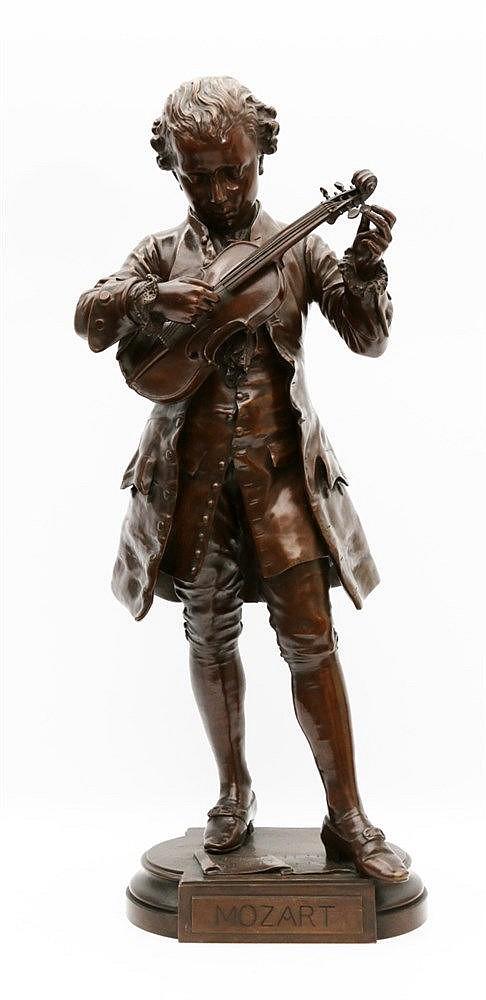 Jean-Louis Grégoire (1840-1890) A bronze sculpture. 'Mozart'. Sig