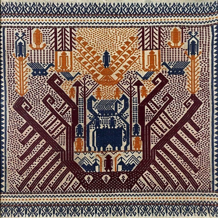 A framed ceremonial cloth, tampan. Lampung, North Sumatra. 74,5