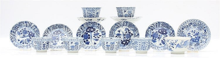 A collection of Chinese blue and white porcelain, comprising nin