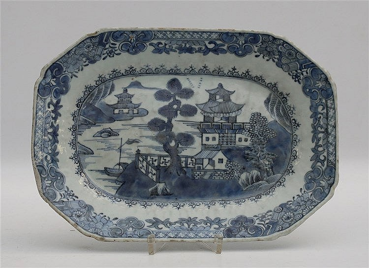A Chinese blue and white oblong octagonal serving dish, decorate