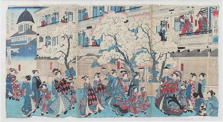 Japanse School Begin 20ste eeuw Geisha's underneath cherry blosso